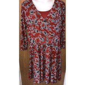 Rust black floral midi dress